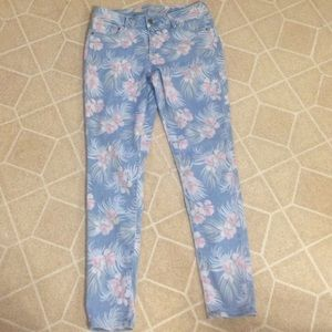 Flowered print jeans